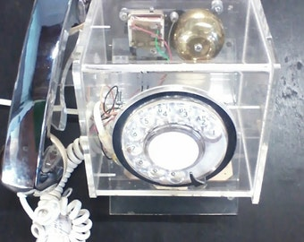 Lucite Rotary Telephone/Teleconcepts Cube phone