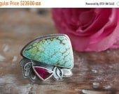 MOVING SALE... Vintage Turquoise, Pink Tourmaline, Sterling Silver Cocktail Ring, Statement Ring... Size 8, Size 8.25... I Dream In Color...