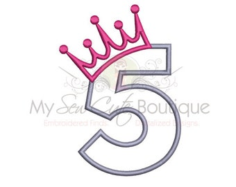 5th Birthday Applique Design - Machine Embroidery Applique Design - 6 Sizes - Instant Download