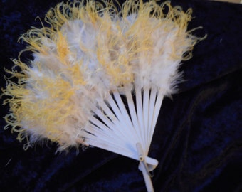 x Natural Feather Hand Fan White and Fluffy Yellow with Wood spines decorated with silver (FF123015-11)