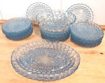 Rare Vintage Antique Dishes. Blue Anchor and Hocking Glass Co. Dishes.  Anchor Hocking Fire King Bullseye Sapphire Blue Bubble Dinnerware.