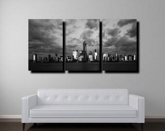 "New York Skyline Canvas, 24""x48"", Manhattan Skyline, New York Art, Black and White"