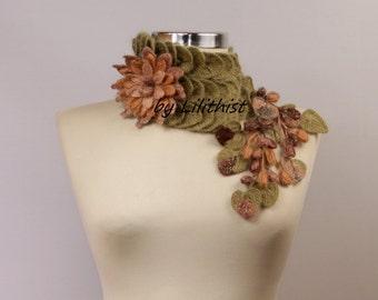 Green Scarf, Crochet Scarf, Leaf Scarf, Crochet Flower Scarf, Infinity Scarf, Crochet Cowl, Brown Beige Collar Scarf, Gift For Her