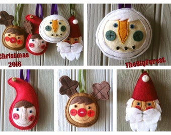 Handmade Christmas Decorations reindeer snowman santa elf in gift box