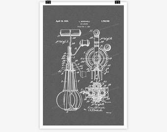 Patent Art Egg Beater, 1927 - Large Patent Art Print Print Patent Art Print Wall Decor Vintage Art Patent Print Wall Hanging 17.