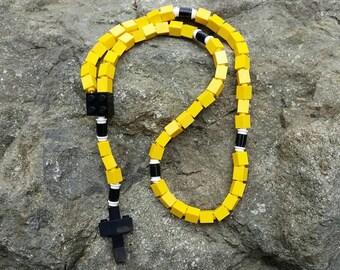 Lego Rosary - The Original Lego Rosary - Catholic Rosary in Yellow & Black Boys Baptism Gift