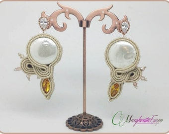 Handmade soutache earrings with freshwater pearls and swarovski crystals