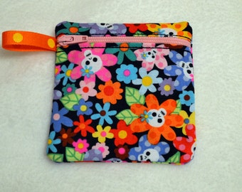Handmade Sugar Skulls  -  Zippered pouch - Gift Card Holder - FREE shipping