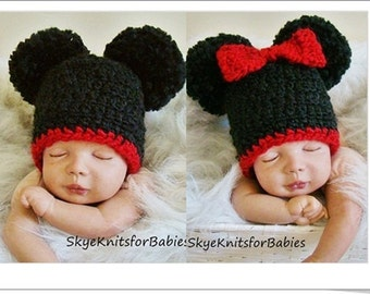 Crochet Baby Hats, Set Mickey and Minnie Mouse Inspired Pom Pom Hats, Baby Double Pom Pom Hat, Newborn Photo Prop, Also Sold Separately