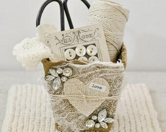 Vintage Inspired Heart Basket