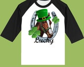 St. Patrick's Day Shirt, Lucky Horseshoe, Black Raglan,Boys clothes, Birthday outfit, Horse tshirt, by ChiTownBoutique.etsy