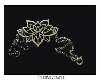 Sterling Silver Lotus Flower Mandala bracelet Statement piece handmade Lotus floral tattoo style cut out silver bracelet HelenSilverSmit