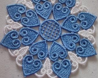 Custom Lace heart coaster/doily