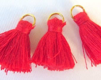Small Cotton Jewelry Tassels with Matching Binding and Gold Plated Jump Ring, Red Tassels, 3 pcs, Approx 25mm, TSL1, Zardenia