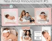 SALE New Arrival Baby/Birth Announcement 5- custom 5x5 trifold card templates for photographers on WHCC, Millers Lab and Pro Digital Photos