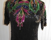 Sale Valentines 1970s or early 1980s Short Sleeved Silk, Fully Sequined Top, by petite Illustrations, Size Small, 42167