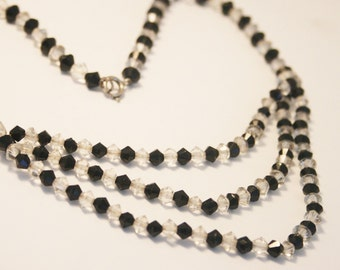 Vintage French Jet and crystal bead necklace. Vintage choker