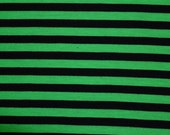 Poly Lycra Black and green stripes 3/8 inch stripe stretch fabric gothic striped goth boho bohemian Polyester material stretchy Jersey Knit