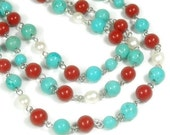 Turquoise Necklace, Turquoise Jewelry, Triple Strand, Multistrand, Turquoise, Pearl, Red Coral, Southwest, Cowgirl, Boho, Necklace Set