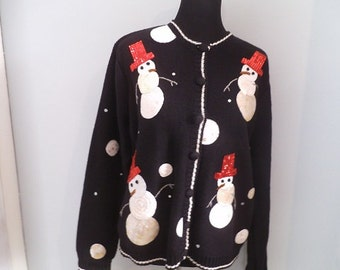 Vintage Christmas Holiday Ugly Party Sweater  ~ PL Cardigan ~ Large ~ SnowMan ~ Karen Scott