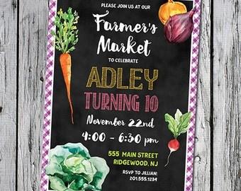 Farmer's Market 5x7 printable invitation invite for birthday party bridal shower baby shower farm fresh printer ready chalkboard watercolor