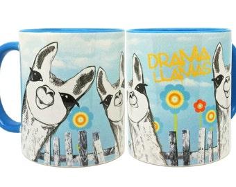 Drama Llamas Funny Blue Mug