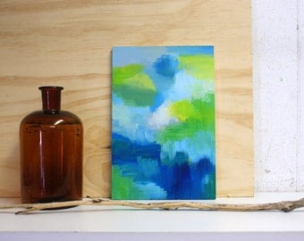 Moods abstract painting on small wooden panel - original - dark blue and green colours