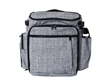 Grey,cotton, Diaper Bag,  Backpack Diaper Bag ,Stroller Bag  - Tinky the Diaper Bag for dads and moms