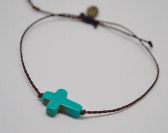 Cross Bracelet, Turquoise Cross Bracelet, Turquoise Bracelet, Waverly