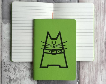 Small green ruled cat journal - featuring Dave the cat - hand-printed, hand-stitched green A6 pocket sized notebook