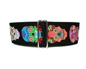 Sugar Skulls Martingale Collar, Day of the Dead Martingale Collar, Calaveras, Greyhound Collar, Pink Dog Collar, 2 Inch Martingale Collar