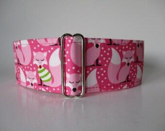 2 Inch Martingale Collar, Fox Martingale Collar, Fox Dog Collar, Pink Dog Collar, Greyhound Collar, Martingale Dog Collar