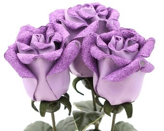 3 lilac purple leather rose bud bouquet third Anniversary wedding gift Long Stem leather Flower Valentine's 3rd Leather Anniversary
