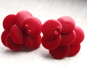 Vintage 1950s Red Rockabilly Earrings // 50s 60s Cherry Retro Earrings // New Old Stock