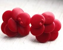 Vintage 1950s Red Rockabilly Earrings // 50s 60s Cherry Retro Earrings // New Old Stock