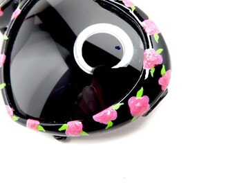 Black Heart Shaped Sunglasses with Pink Rose Flowers