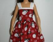 Handmade doll clothes  - snowman holiday print dress