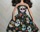 "Handmade 11.5"" fashion doll clothes - black and white sugar skulls dress"