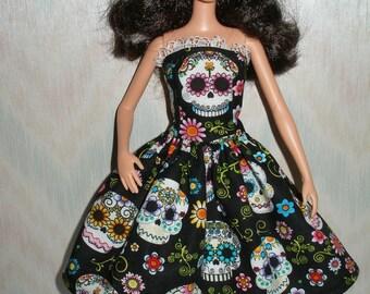 "Handmade to fit 11.5"" fashion Barbie doll clothes - black and white sugar skulls dress"