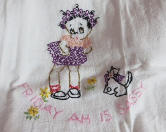 Vintage Kitchen Tea Towel-Days of the Week-Embroidered-Black Americana-Girl-On Friday Ah is Sassy