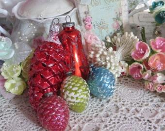 Vintage Shiny Brite Ornament Lot-Retro-Eames-Pine cones-4 piece set