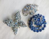 Destash BLUE RHINESTONE Brooch Craft Lot Altered Assemblage for Repurposing EISENBERG