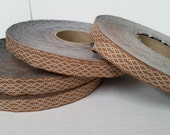 """WHOLESALE LOT: Full Roll Made in New Hampshire Jacquard Bronze & Cream 3/4""""   - Sewing Gift Wrapping"""