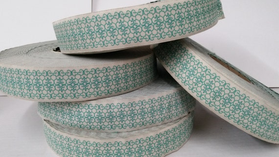 """WHOLESALE FULL ROLL lot: New Hampshire Jacquard Ribbon  - Sewing Gift Wrapping Teal or green Trim  1 3/4"""""""