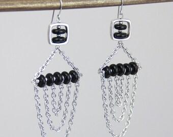 Black Echo Earrings - Black Glass Silver Metal Chain Cascade Earrings - Big Long Modern Beaded Moto Earrings