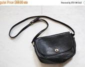 30% Off SALE ends 9/11 - Vintage Coach Black Leather Shoulder Crossbody Satchel Purse Bag - Coach Purse -  Coach Leather Bag -  Leather Coac