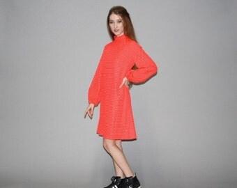 70% Off FINAL SALE - Vintage 1960s Red Mod Polka Dot Dress - 60s Red Dress - Vintage Graphic Dress - 60s Polkadot Dress  - WD0612