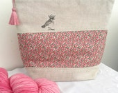 Liberty of London 'Party Bird' project bag with silk tassel ..... Peach Pepper