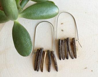 coconut wood spike hoop earrings, modern wire hoop earrings with coconut wood spikes