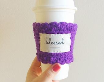 Blessed motivational mug cozy, inspirational mug cozy, coffee sleeve, custom travel mug sleeve, knit tumbler sleeve, Christian gift for her